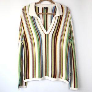 Versace Couture Rainbow stripe long sleeve sweater
